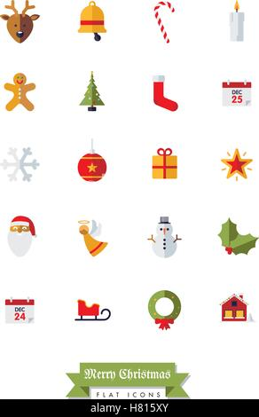 Collection of Christmas Holidays and winter season flat design isolated icons - Stock Photo
