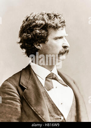 """Mark Twain (1835-1910) photograph from 1869, the same year """"The Innocents Abroad, or The New Pilgrims' Progress"""" - Stock Photo"""