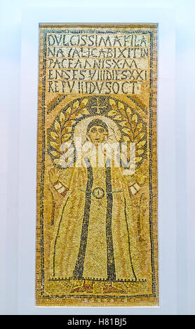 The Early Christian icon, created from the stone mosaic in Bardo National Museum, Tunis - Stock Photo