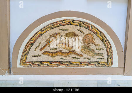 The mosaic with the fishes and sea creatures in Bardo National Museum, Tunis - Stock Photo