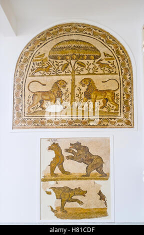 The mosaics in Bardo National Museum with the fighting lions and bears, Tunis - Stock Photo