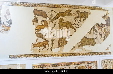 The jaguars and gazelles on mosaic of Bardo National Museum, Tunis. - Stock Photo
