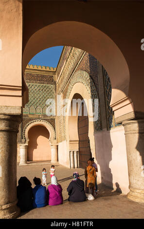 Morocco, Meknes, Bab el-Mansour, completed in 1732 - Stock Photo