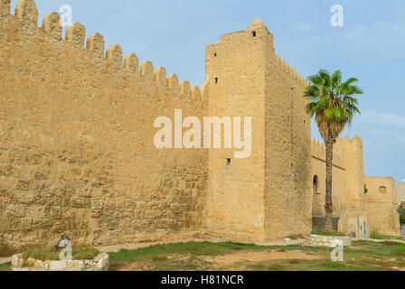 The well preserved fortification of Sousse has many gates from each side, Tunisia. - Stock Photo