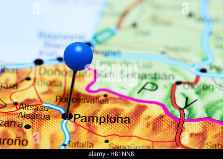 Pamplona pinned on a map of Spain - Stock Photo
