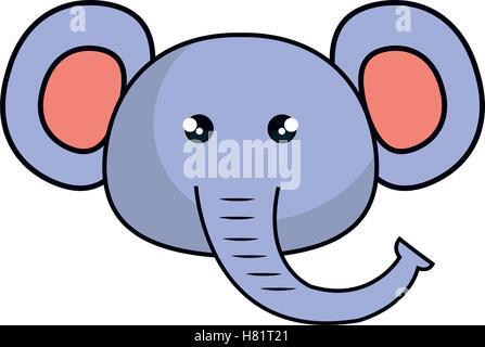 kawaii elephant cute face animal stock vector art illustration rh alamy com Elephant with Umbrella Clip Art Elephant with Umbrella Clip Art