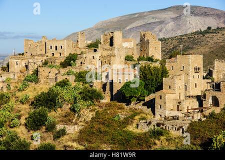 Vathia village in the Mani Peninsula, Peloponnese, Greece - Stock Photo