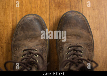 Pair of brown boots from above - Stock Photo