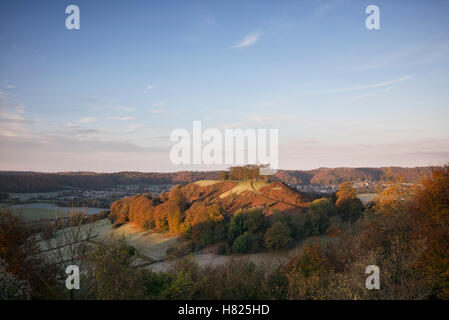 Downham Hill from Uley Bury on a cold frosty autumn morning at sunrise. Cotswolds, Gloucestershire, England. - Stock Photo