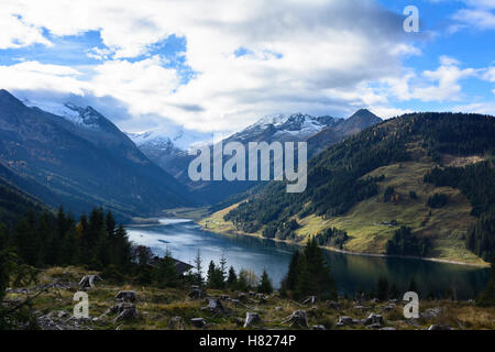 Krimml: alp alpine pasture, Zillertaler Alpen, Durlaßboden reservoir water power station, Pinzgau, Salzburg, Austria - Stock Photo
