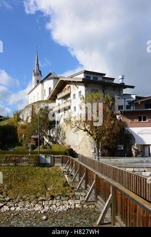 Kaprun: church, stream Kapruner Ache, Pinzgau, Salzburg, Austria - Stock Photo