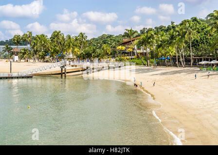 Scenic Palawan Beach on Sentosa Island, Singapore - Stock Photo