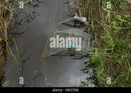 Trolley in drain - Stock Photo