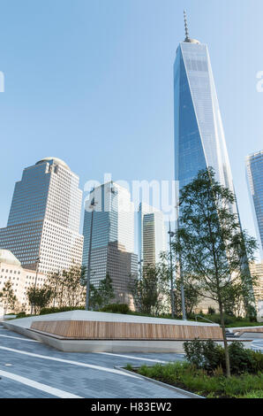 Newly built elevated Liberty Park at the World Trade Center Memorial, New York City, looking towards the Freedom - Stock Photo