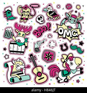 Lovely patch badges set, colorful and trendy elements collection for decoration. Embroidery or stickers in cartoon - Stock Photo