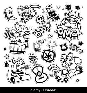 Lovely patch badges set, trendy elements collection for decoration. Embroidery or stickers in cartoon style. Black - Stock Photo