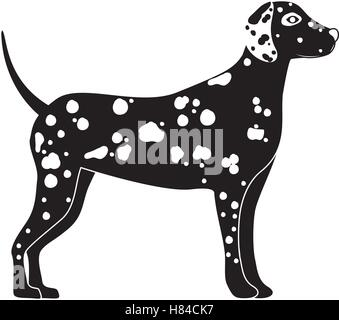 silhouette of cute dalmatian dog animal icon over white background. side view. vector illustration - Stock Photo