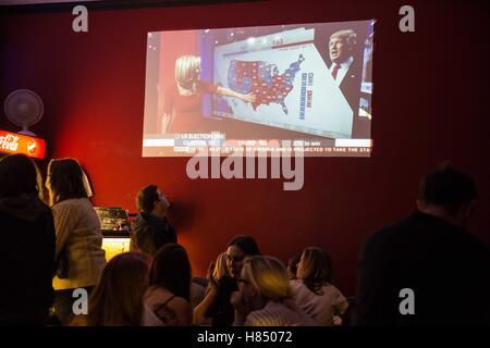 Prague, Czech Republic. 9th Nov, 2016. The Americans that lives in Czech Republic were following the US elections - Stock Photo