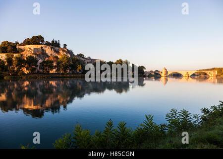 Pont Saint-Benezet and Rhone River in Avignon. Avignon, Provence-Alpes-Cote d'Azur, France. - Stock Photo