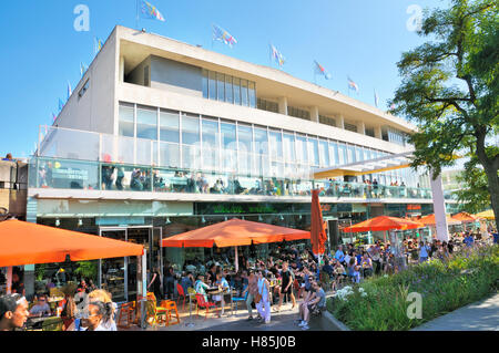 Cafes and restaurants outside the Royal Festival Hall, Southbank Centre, London, England, UK - Stock Photo