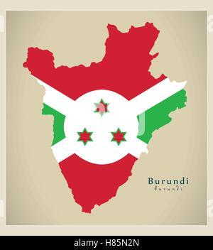 Modern Map - Burundi flag colored BI - Stock Photo