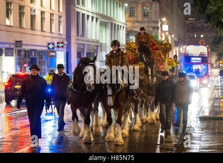 The Lord Mayor of London's State Coach travels along Cheapside, in the City of London, during the rehearsal for - Stock Photo