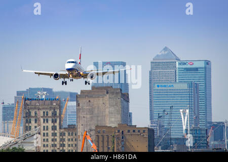 British Airways City Flyer aircraft departing London City Airport - Stock Photo