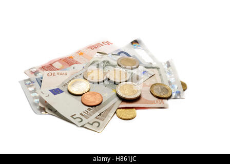 al lot of euro money isolated on white background - Stock Photo