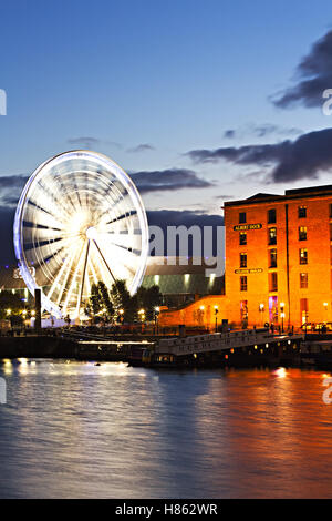 Albert Dock Liverpool lit up at night - Stock Photo