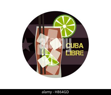 Cuba Libre cocktail. Can be used as icon, logo template, illustration or another way. Modern design. On stylish - Stock Photo