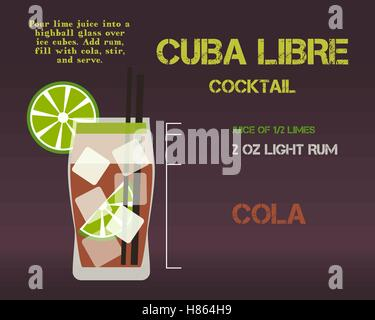 Cuba Libre cocktail recipe and preparation description concept. Modern design. Isolated on stylish background. Vector - Stock Photo