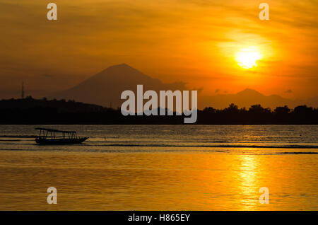 Sunset over Gunung Agung, Bali. - Stock Photo