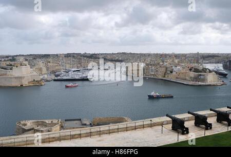 View of the Three Cities from Valletta, Malta - Stock Photo
