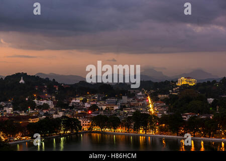 Kandy city at night, Sri Lanka - Stock Photo