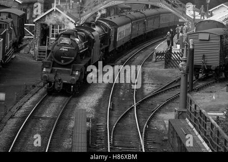 Black 5 45428 (as 45344) and B1 61264 at Goathland on the North Yorkshire Moors Railway.Welsh steam gala. - Stock Photo
