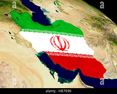Map of Iran with embedded flag on planet surface. 3D illustration. Elements of this image furnished by NASA. - Stock Photo