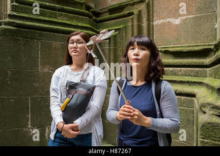 chinese tourist tourists take selfie funny face - Stock Photo
