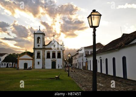 Church of 'Santa Rita de Cássia' in Paraty, Rio de Janeiro, at twilight. - Stock Photo