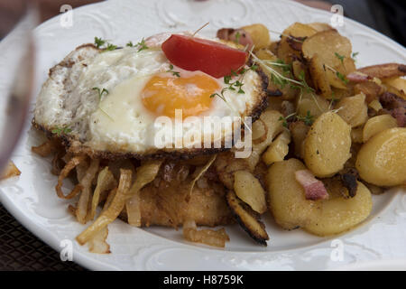 Food on a plate in Germany. Sept 2016. Hearty food in Hillesheim, Germany. - Stock Photo