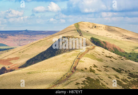 Looking along the Great Ridge to Hollins Cross Back Tor and Lose Hill from below Mam Tor in the Derbyshire Peak - Stock Photo