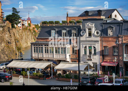 TBILISI, GEORGIA, 16 AUGUST, 2016: Old houses on the mountain in old town of Tbilisi, Georgia - Stock Photo
