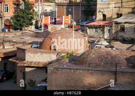 TBILISI, GEORGIA, 16 AUGUST, 2016: Abanotubani is the ancient district of Tbilisi, Georgia, known for its sulfuric - Stock Photo