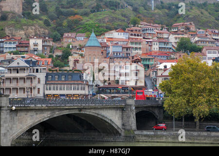 TBILISI, GEORGIA, 16 AUGUST, 2016: View of Tbilisi Old town Sololaki - Stock Photo