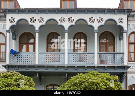 Tbilisi, Georgia - May 19, 2016: The Balcony Of An Old House In The Old Part Of Tbilisi - The Capital Of Georgia. - Stock Photo