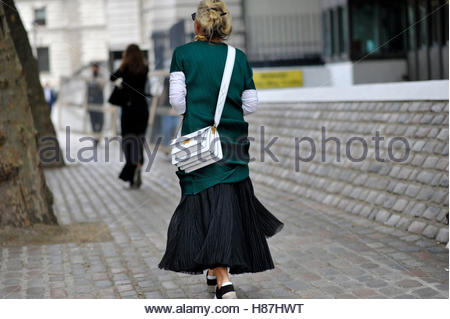 Westminster, London Fashion Week SS17 FW16 Street Style September 18 2016. - Stock Photo