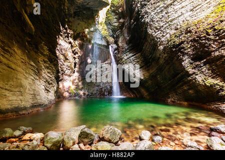 Beautiful Kozjak waterfall, Triglav national park, Slovenia - Stock Photo