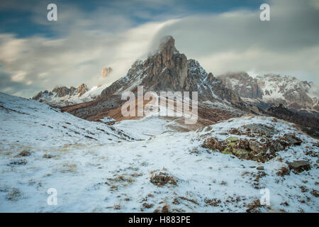 Snow in early November at Giau pass near Cortina d'Ampezzo, Dolomites, Italy. - Stock Photo