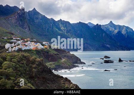 View with Taganana village, Anaga Mountains, Parque Rural Anaga, Tenerife island, Canary archipelago, Spain, Europe - Stock Photo
