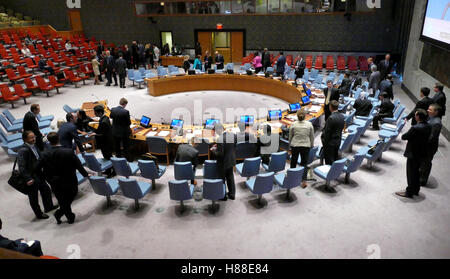 New York, United States. August 25th 2016: The Security Council Chamber during preparation for session. It is located - Stock Photo
