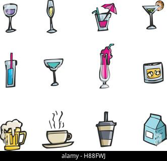 Colorful hand drawn cartoon style alcohol drinks and cocktails icon set - Stock Photo